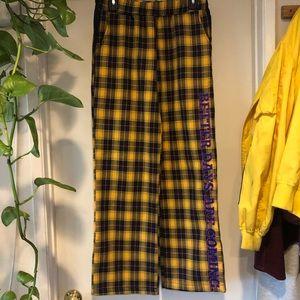 yellow plaid sweat pants